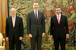 King Felipe VI of Spain (c) in Audience with Sheikh Abdullah Bin Zayed al Nahyan, Minister of Foreign Affairs and International Cooperation of the State of the United Arab Emirates (r) and Alfonso Dastis Minister of Foreign Affairs and Cooperation of Spain. January 29,2018. (ALTERPHOTOS/Acero)