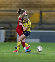 13th February 2020; Deva Stadium, Chester, Cheshire, England; Womens Super League Football, Liverpool Womens versus Arsenal Womens;  Niamh Charles of Liverpool Women collides with  Leah Williamson of Arsenal Women