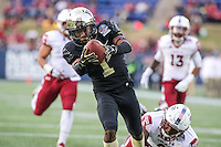 Annapolis, MD - December 27, 2016: Wake Forest Demon Deacons wide receiver Tabari Hines (1) stretches for a touchdown during game between Temple and Wake Forest at  Navy-Marine Corps Memorial Stadium in Annapolis, MD.   (Photo by Elliott Brown/Media Images International)