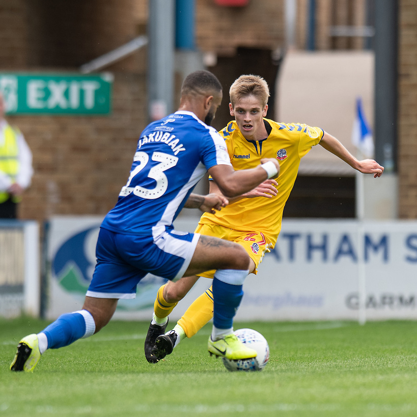 Bolton Wanderers' Ronan Darcy (right) under pressure from Gillingham's Alex Jakubiak (right) <br /> <br /> Photographer David Horton/CameraSport<br /> <br /> The EFL Sky Bet League One - Gillingham v Bolton Wanderers - Saturday 31st August 2019 - Priestfield Stadium - Gillingham<br /> <br /> World Copyright © 2019 CameraSport. All rights reserved. 43 Linden Ave. Countesthorpe. Leicester. England. LE8 5PG - Tel: +44 (0) 116 277 4147 - admin@camerasport.com - www.camerasport.com