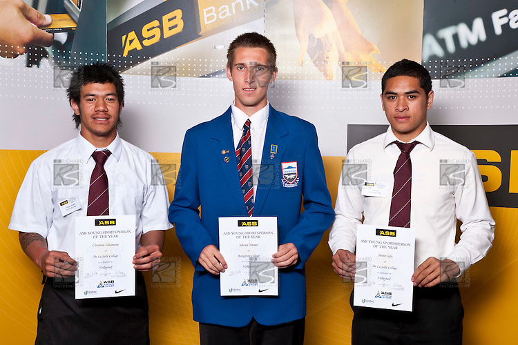 Boys Volleyball finalists Christian Talaimanu, Johann Timmer & Junior Sefo. ASB College Sport Auckland Secondary School Young Sports Person of the Year Awards held at Eden Park on Thursday 12th of September 2009.