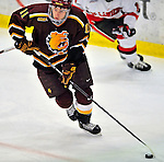 2 January 2009: Ferris State Bulldogs' center Jordie Johnston, a Freshman from Rosetown, Sask., in action against the St. Lawrence Saints during the first game of the 2009 Catamount Cup Ice Hockey Tournament hosted by the University of Vermont at Gutterson Fieldhouse in Burlington, Vermont. The Saints defeated the Bulldogs 5-4 to move onto the championship game against the University of Vermont Catamounts...Mandatory Photo Credit: Ed Wolfstein Photo