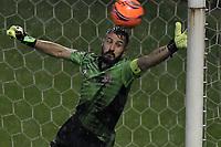 BOGOTÁ -COLOMBIA, 14-05-2017: Cesar Giraldo arquero de Tigres FC no puede detener el disparo de gol de Henry Rojas (fuera de cuadro) durante el encuentro con Millonarios durante partido por la fecha 18 de la Liga Águila I 2017 jugado en el estadio Metropolitano de Techo de la ciudad de Bogotá. / Cesar Giraldo goalkeeper of Tigres FC can't avoid a goal from Henry Rojas (out the frame) during match against Millonarios for the date 18 of the Aguila League I 2017 played at Metropolitano de Techo stadium in Bogotá city. Photo: VizzorImage/ Gabriel Aponte / Staff
