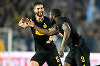 191030 -- BRESCIA, Oct. 30, 2019 Xinhua -- FC Inter s Romelu Lukaku R celebrates his goal during a Serie A soccer match between Brescia and FC Inter in Brescia, Italy, Oct 29, 2019. Photo by Alberto Lingria/Xinhua SPITALY-BRESCIA-SOCCER-SERIE A-INTER MILAN VS BRESCIA PUBLICATIONxNOTxINxCHN<br /> Brescia 29-10-2019 Stadio Mario Rigamonti <br /> Football Serie A 2019/2020 <br /> Brescia - FC Internazionale <br /> Photo Alberto Lingria / Xinhua / Imago  / Insidefoto