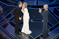 Jane Fonda and Helen Mirren present the Oscar&reg; for best actor in a leading role to Gary Oldman for work on &quot;Darkest Hour&quot; during the live ABC Telecast of the 90th Oscars&reg; at the Dolby&reg; Theatre in Hollywood, CA on Sunday, March 4, 2018.<br /> *Editorial Use Only*<br /> CAP/PLF/AMPAS<br /> Supplied by Capital Pictures