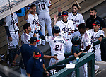 Teammates greet Reno Aces' Wyatt Mathisen after hitting a home run against Sacramento River Cats in Reno, Nev., on Thursday, July 4, 2019.<br /> Photo by Cathleen Allison/Nevada Momentum