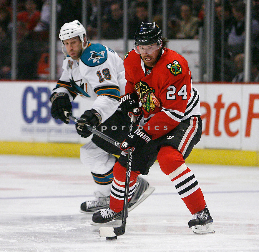 MARTIN HAVLAT, of the Chicago Blackhawks in action during the Blackhawks game against the San Jose Sharks in Chicago, IL on March 25, 2009  The Blackhawks win 5-6 IN SOT.