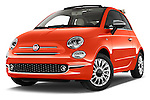 Stock pictures of low aggressive front three quarter view of 2016 Fiat 500-C Lounge 2 Door Convertible Low Aggressive
