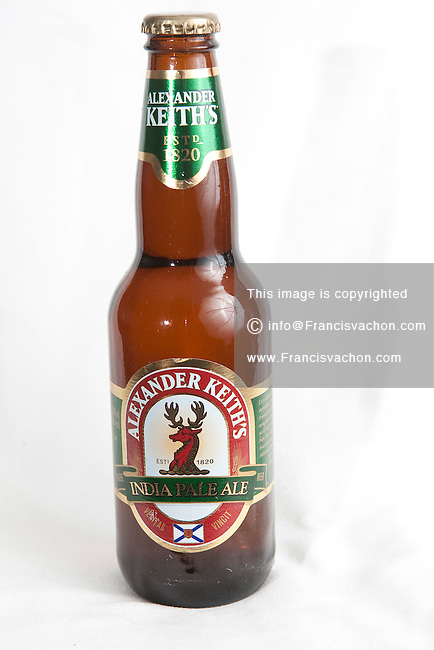 Alexander India Pale Ale beer bottle over a white background