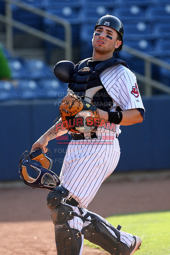 June 11th 2008:  Catcher Michael Valadez of the Lake County Captains, Class-A affiliate of the Cleveland Indians, during a game at Classic Park in Eastlake,OH.  Photo by:  Mike Janes/Four Seam Images