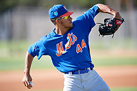 GCL Mets pitcher Simeon Woods-Richardson (44) warms up before a game against the GCL Cardinals on August 6, 2018 at Roger Dean Chevrolet Stadium in Jupiter, Florida.  GCL Cardinals defeated GCL Mets 6-3.  (Mike Janes/Four Seam Images)