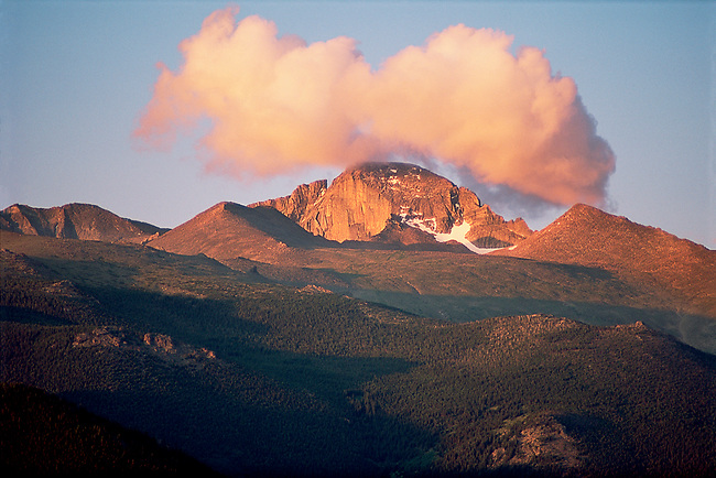 cloud, sunrise, Longs Peak, Rocky Mountain National Park, Colorado, summer