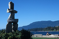 Inuit Inuksuk sculpture on English Bay, Vancouver, British Columbia, Canada