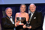 Claire Tighe,  Leixlip Musical Society, County Kildare who won Best Choreography / Gilbert Section for the show 'Legally Blonde' receiving the trophy from on  left, Colm Moules, President, AIMS and Seamus Power, Vice-President at the Association of Irish Musical Societies annual awards in the INEC, KIllarney at the weekend.<br /> Photo: Don MacMonagle -macmonagle.com<br /> <br /> <br /> <br /> repro free photo from AIMS<br /> Further Information:<br /> Kate Furlong AIMS PRO kate.furlong84@gmail.com