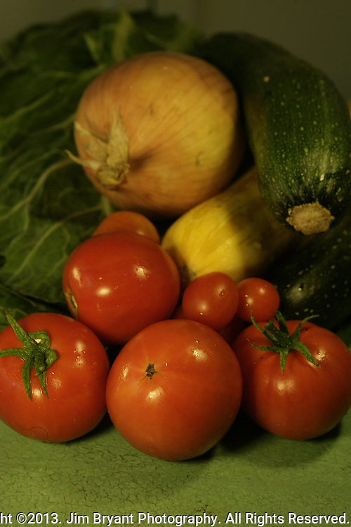 tomatoes, yellow squash, zucchini,  onions and collards. ©2013 Jim Bryant Photo. All Rights Reserved.