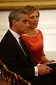 Washington, DC - December 6, 2009 -- White House Chief of Staff Rahm Emanuel and wife Amy Rule shown prior to a White House East Room reception for the recipients of the 2009 Kennedy Center Honors, in Washington, DC, Sunday, December 6, 2009..Credit: Martin H. Simon / Pool via CNP