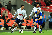 7th January 2018, Wembley Stadium, London, England;  FA Cup football, 3rd round, Tottenham Hotspur versus AFC Wimbledon; Dele Alli of Tottenham Hotspur takes on Barry Fuller of AFC Wimbledon