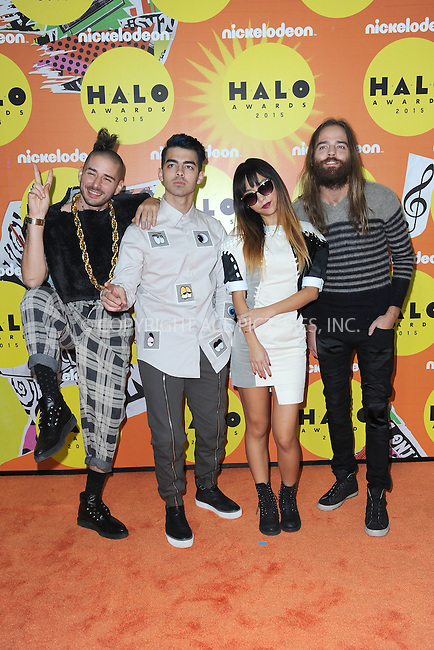 WWW.ACEPIXS.COM<br /> November 14, 2015 New York City<br /> <br /> Dnce attending the 2015 Nickelodeon HALO Awards at Pier 36 on November 14, 2015 in New York City.<br /> <br /> Credit: Kristin Callahan/ACE<br /> Tel: (646) 769 0430<br /> e-mail: info@acepixs.com<br /> web: http://www.acepixs.com