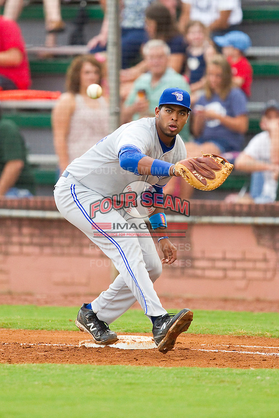 Bluefield Blue Jays first baseman Art Charles #24 waits for a throw during the game against the Elizabethton Twins at Joe O'Brien Field on July 14, 2012 in Elizabethton, Tennessee.  The Twins defeated the Blue Jays 4-0.  (Brian Westerholt/Four Seam Images)