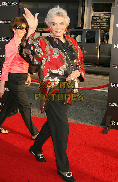 "JANE RUSSELL.""Mr. Brooks"" Los Angeles Premiere at Grauman's Chinese Theatre, Hollywood, California, USA..May 22nd, 2007.full length black trousers red gold jacket hand waving.CAP/ADM/RE.©Russ Elliot/AdMedia/Capital Pictures"