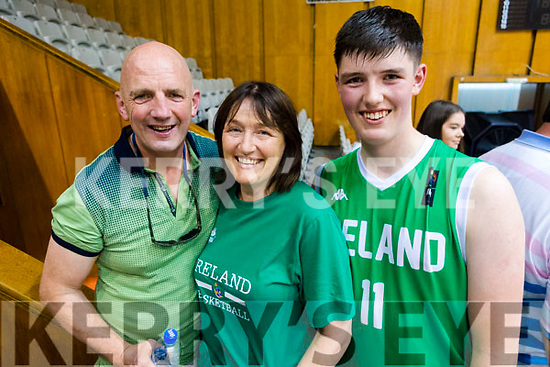 Brendan and Veronica Kennelly with their son Daire who played for Ireland in the U16 Boys Basketball European Championships in Sofia, Bulgaria on Saturday.