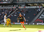 Billy Sharp of Sheffield Utd celebrates his second goal during the English League One match at  Stadium MK, Milton Keynes. Picture date: April 22nd 2017. Pic credit should read: Simon Bellis/Sportimage