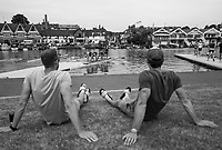 Henley-on-Thames. United Kingdom.  General view. GV. as crews boat for a training session, 2017 Henley Royal Regatta, Henley Reach, River Thames. <br /> <br /> 10:48:32  Tuesday  27/06/2017   <br /> <br /> [Mandatory Credit. Peter SPURRIER/Intersport Images.