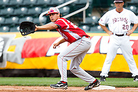 Jerrod Eigsti (27) of the Bradley Braves stretches for a ball thrown to first base during a game against the Missouri State Bears on May 13, 2011 at Hammons Field in Springfield, Missouri.  Photo By David Welker/Four Seam Images