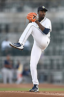 Starting pitcher Tony Dibrell (8) of the Columbia Fireflies delivers a pitch during a game against the Charleston RiverDogs in which he set a Fireflies single-season strikeout record of 138 on Tuesday, August 28, 2018, at Spirit Communications Park in Columbia, South Carolina. Columbia won, 11-2. (Tom Priddy/Four Seam Images)