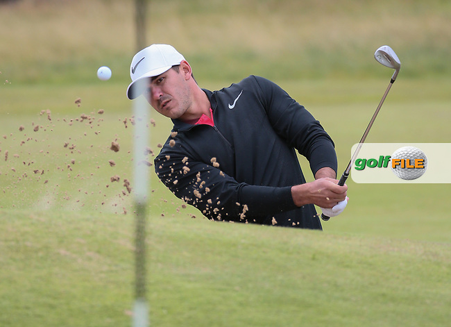 Brooks Koepka (USA) plays out of the bunker on the 4th during Thursday's Round One at The 146th Open played at Royal Birkdale, Southport, England.  20/07/2017. Picture: David Lloyd | Golffile.<br /> <br /> Images must display mandatory copyright credit - (Copyright: David Lloyd | Golffile).