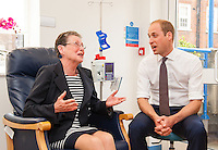 17 May 2016 - London, England - Prince William Duke of Cambridge (right) meets breast cancer patient Patricia Cook during a visit to the Royal Marsden NHS Foundation Trust, in Chelsea, west London, as he marks the opening of the hospital's new centre for breast cancer research named after the fashion designer. The Ralph Lauren Centre for Breast Cancer Research was funded by supporters of the Royal Marsden Cancer Charity, including a generous donation from the designer. William has a long association with the hospital, he became the Royal Marsden's president in 2007, following in the footsteps of his mother Diana, Princess of Wales, who held the same position from 1989 until her death in 1997. Photo Credit: ALPR/AdMedia