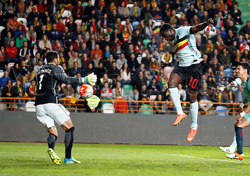 29.03.2016. Leiria, Portugal.  Romelu Lukaku of Belgium scores   during the FIFA international friendly match between Portugal and Belgium as part of the preparation of the Belgian national soccer team prior to the UEFA EURO 2016  in Leiria, Portugal.