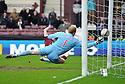 HEARTS' CRAIG BEATTIE HITS THE BACK OF THE NET BUT HIS GOAL WAS CHOPPED OFF FOR OFFSIDE