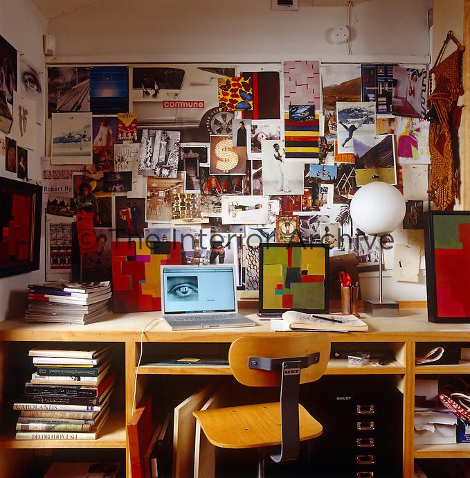 A busy moodboard in the studio of Steven Johanknecht's LA home