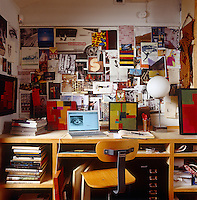 A busy moodboard in the studio of Steven Johanknecht's LA home