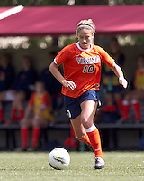 University of Virginia forward Caroline Miller (10) brings the ball forward. Boston College defeated University of Virginia, 2-0, at the Newton Soccer Field, on September 18, 2011.