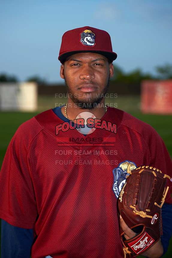 Mahoning Valley Scrappers pitcher Henry Martinez (43) poses for a photo before a game against the Auburn Doubledays on September 4, 2015 at Falcon Park in Auburn, New York.  Auburn defeated Mahoning Valley 5-1.  (Mike Janes/Four Seam Images)