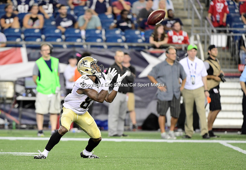 Thursday August 11, 2016: New Orleans Saints wide receiver Tommylee Lewis (87) catches a punt during an NFL pre-season game between the New Orleans Saints and the New England Patriots held at Gillette Stadium in Foxborough Massachusetts. The Patriots defeat the Saints 34-22 in regulation time. Eric Canha/CSM