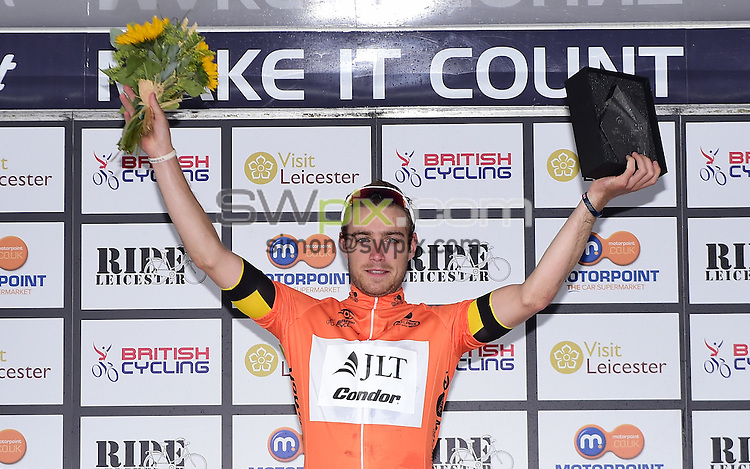 Picture by Alex Broadway/SWpix.com - 14/08/2016 - Cycling - Motorpoint Grand Prix Series - Leicester Castle Classic Kermesse - Leicester, England - Chris Lawless of JLT Condor on the podium.