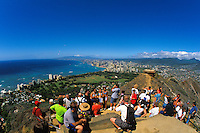A spectacular panoramic view from atop Diamond Head Crater. Most of southern Oahu can be seen from this vantage point.