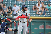 Franmil Reyes (7) of the El Paso Chihuahuas bats against the Salt Lake Bees at Smith's Ballpark on July 5, 2018 in Salt Lake City, Utah. El Paso defeated Salt Lake 3-2. (Stephen Smith/Four Seam Images)