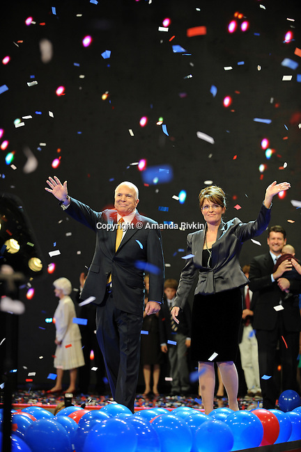 John McCain and Sarah Palin accept the Republican presidential nomination on the floor of the Republican National Convention at the XCel Center in Saint Paul, Minnesota on September 4, 2008.