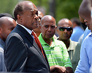 Washington, DC - July 10, 2012: D.C. Councilmember Marion Barry talks to taxicab drivers outside of the Wilson Building as they protest proposed legislation, July 10, 2012.  (Photo by Don Baxter/Media Images International)