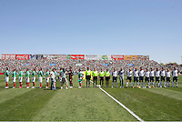 Teams during national anthem of the USA's 3-1 win vs Mexico in Group A of the 2008 CONCACAF Olympic Women's Qualifying Tournament  in Ciudad Juarez, Mexico, April 6, 2008.
