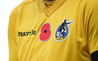 A close up of a Poppy on the shirt of Bristol Rovers' Adam Smith<br /> <br /> Photographer Chris Vaughan/CameraSport<br /> <br /> The EFL Sky Bet League One - Scunthorpe United v Bristol Rovers - Saturday 11th November 2017 - Glanford Park - Scunthorpe<br /> <br /> World Copyright &copy; 2017 CameraSport. All rights reserved. 43 Linden Ave. Countesthorpe. Leicester. England. LE8 5PG - Tel: +44 (0) 116 277 4147 - admin@camerasport.com - www.camerasport.com