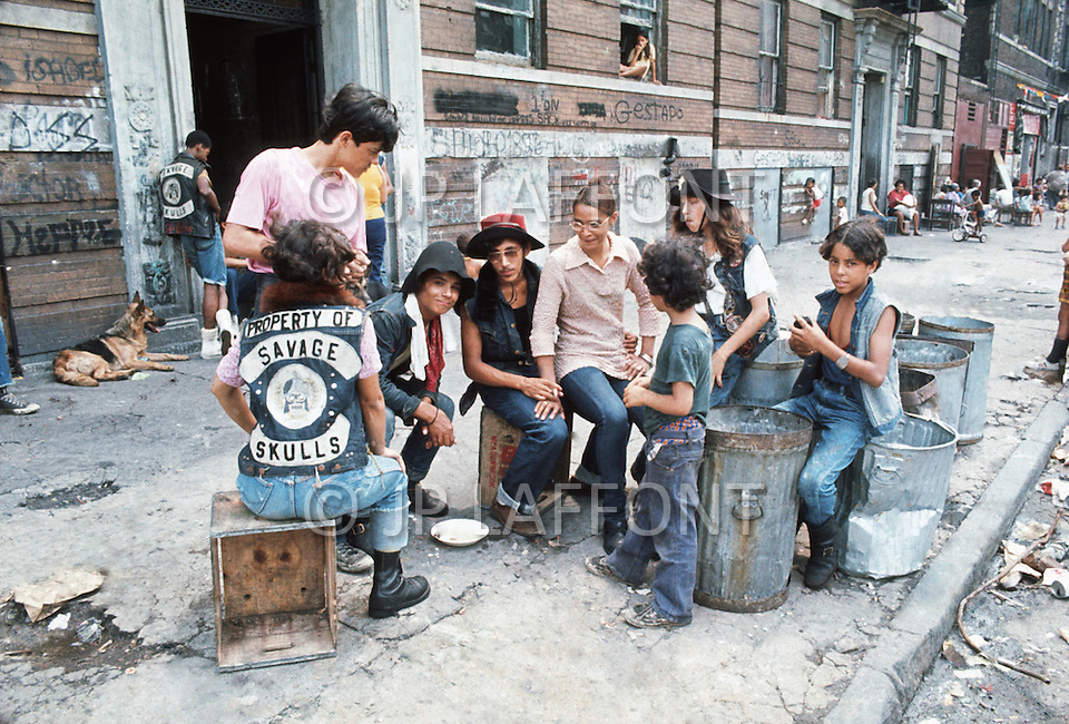 """New York, NY July 20th 1972 - New York street gang """"Savage Skulls"""". The trademark of the primarily Puerto Rican gang was a sleeveless denim jacket with a skull and crossbones design on the back. Based in the Hunts Point area of the  South Bronx, the gang declared war on the drug dealers that operated in the area. Running battles were frequent with rival gangs """"Seven Immortals"""" and """"Savage Nomads""""."""