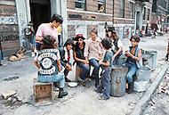 "New York, NY July 20th 1972 - New York street gang ""Savage Skulls"". The trademark of the primarily Puerto Rican gang was a sleeveless denim jacket with a skull and crossbones design on the back. Based in the Hunts Point area of the  South Bronx, the gang declared war on the drug dealers that operated in the area. Running battles were frequent with rival gangs ""Seven Immortals"" and ""Savage Nomads""."