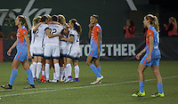 Portland, Oregon - Wednesday September 7, 2016: Portland Thorns players celebrate a second half goal during a regular season National Women's Soccer League (NWSL) match at Providence Park.