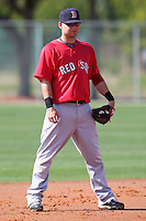 March 18, 2010:  Third baseman Ryan Khoury of the Boston Red Sox organization during Spring Training at Ft.  Myers Training Complex in Fort Myers, FL.  Photo By Mike Janes/Four Seam Images