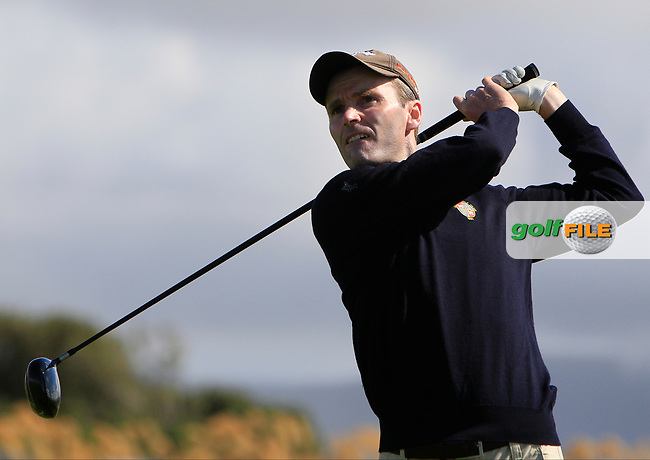 Justin Keogh (Limerick) on the 1st tee during the Munster Final of the AIG Senior Cup at Tralee Golf Club, Tralee, Co Kerry. 12/08/2017<br /> Picture: Golffile   Thos Caffrey<br /> <br /> <br /> All photo usage must carry mandatory copyright credit     (&copy; Golffile   Thos Caffrey)